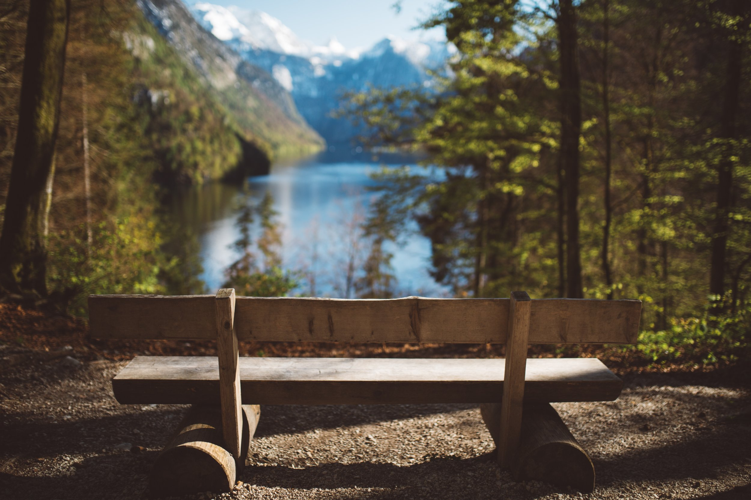 empty wooden bench overlooking water and mountains, discernment counseling columbia mo