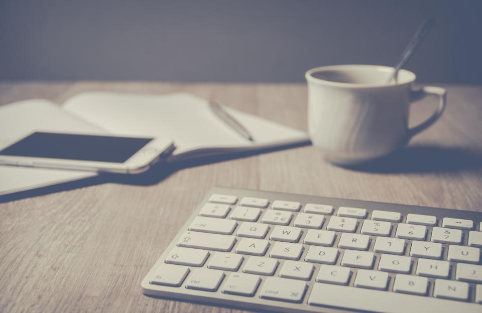 coffee, iPhone, keyboard, phone, paper