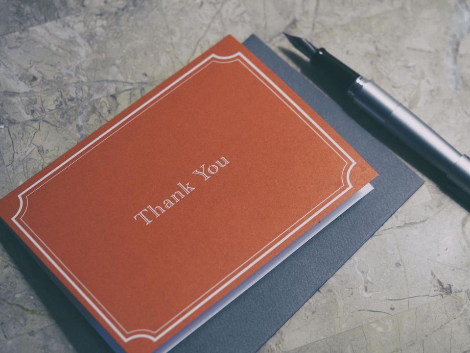 thank you card, thank you note, gratitude thanks