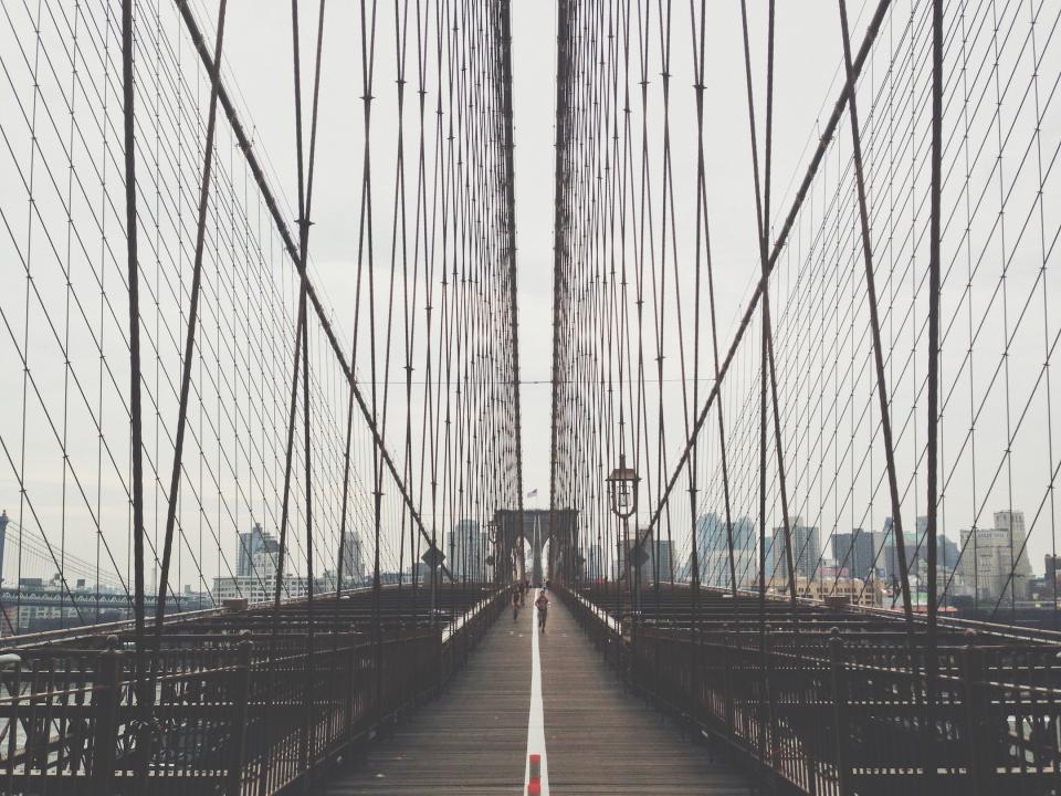 bridge, large town