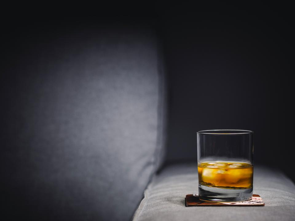 alcohol in dark, glass of alcohol