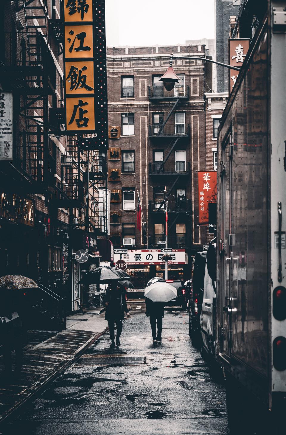 china town, people walking