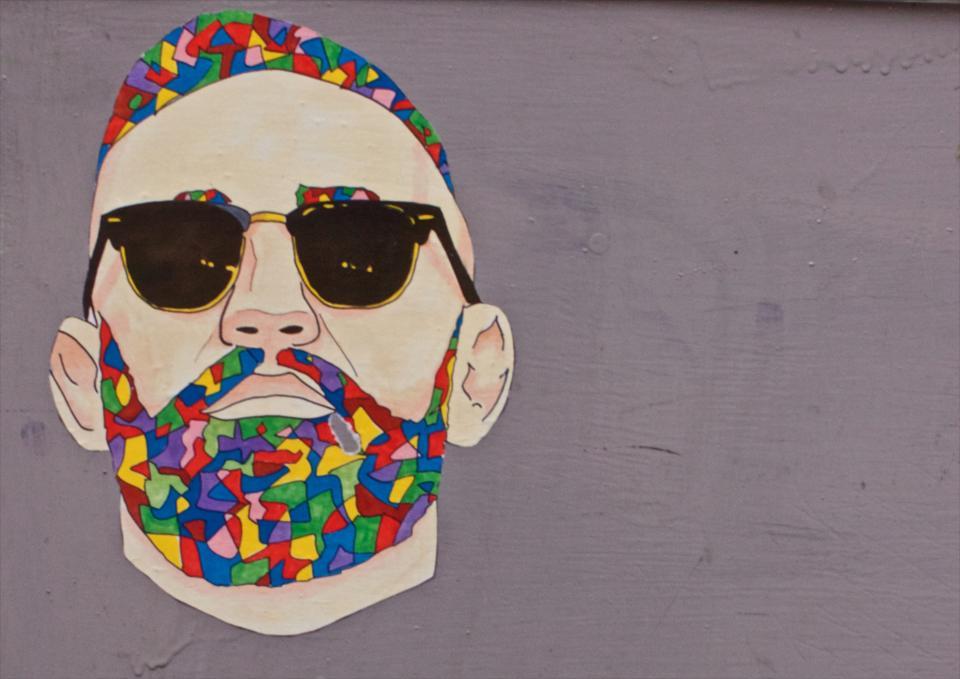 face, wall art, colored art