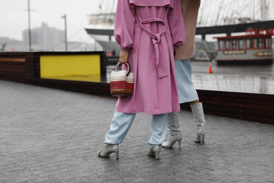 people walking, glitter shoes