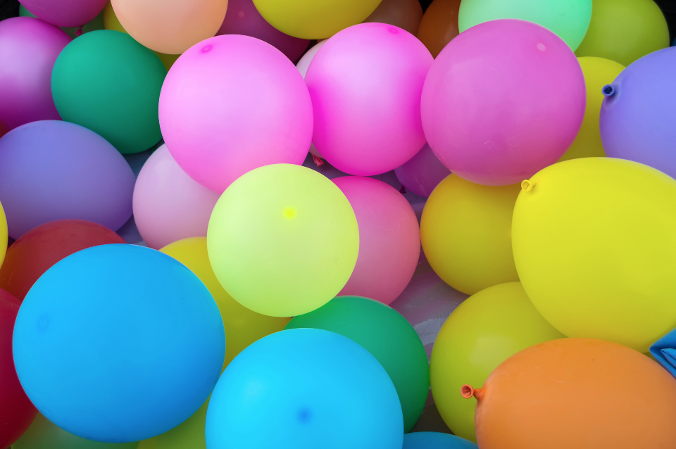 colorful balloons, bright colors