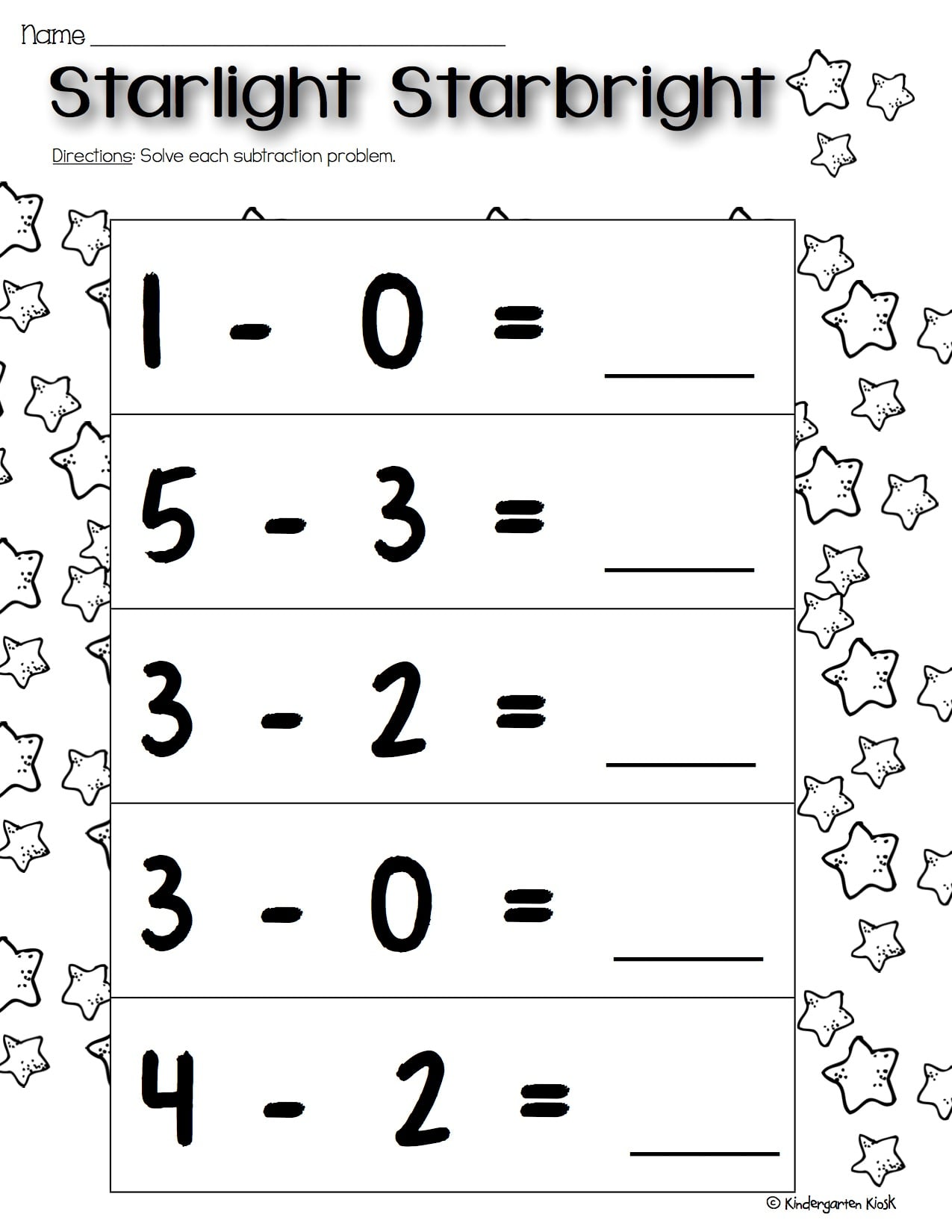 Kindergarten Sub Worksheets