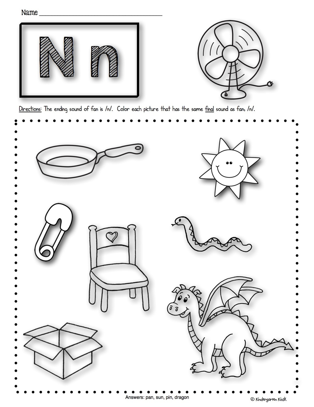 Phonics Prep: Ending Sounds Worksheets — Kindergarten Kiosk