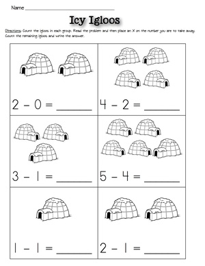 Subtraction Worksheets Winter Kindergarten Kiosk