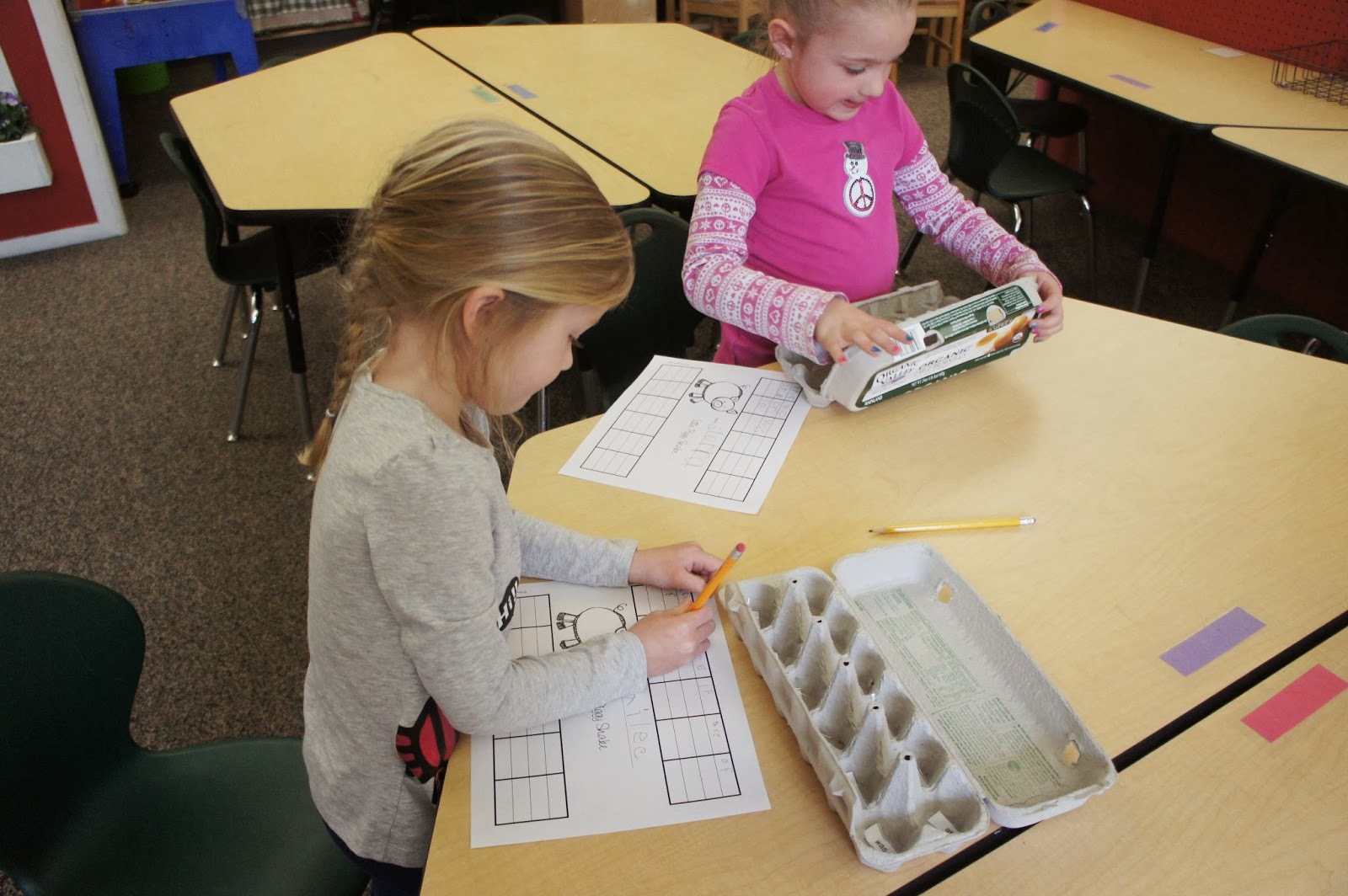 We practice sight words by shaking a little pig in an egg carton and writing down the sight word he lands on.