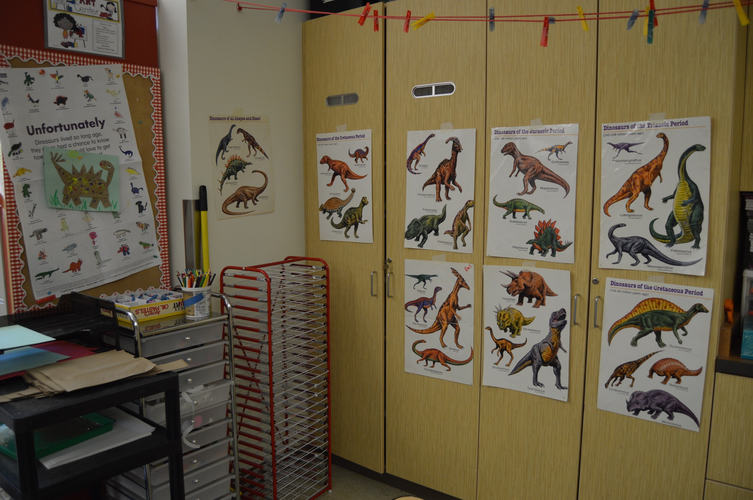 The Art Center is filled with dinosaur art samples.