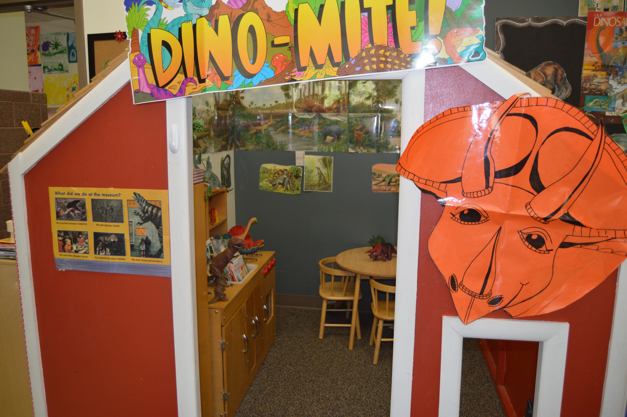 "The Student's voted to turn the playhouse into ""Jurassic World."" Enter to the  ""World of Living Dinosaurs!"""