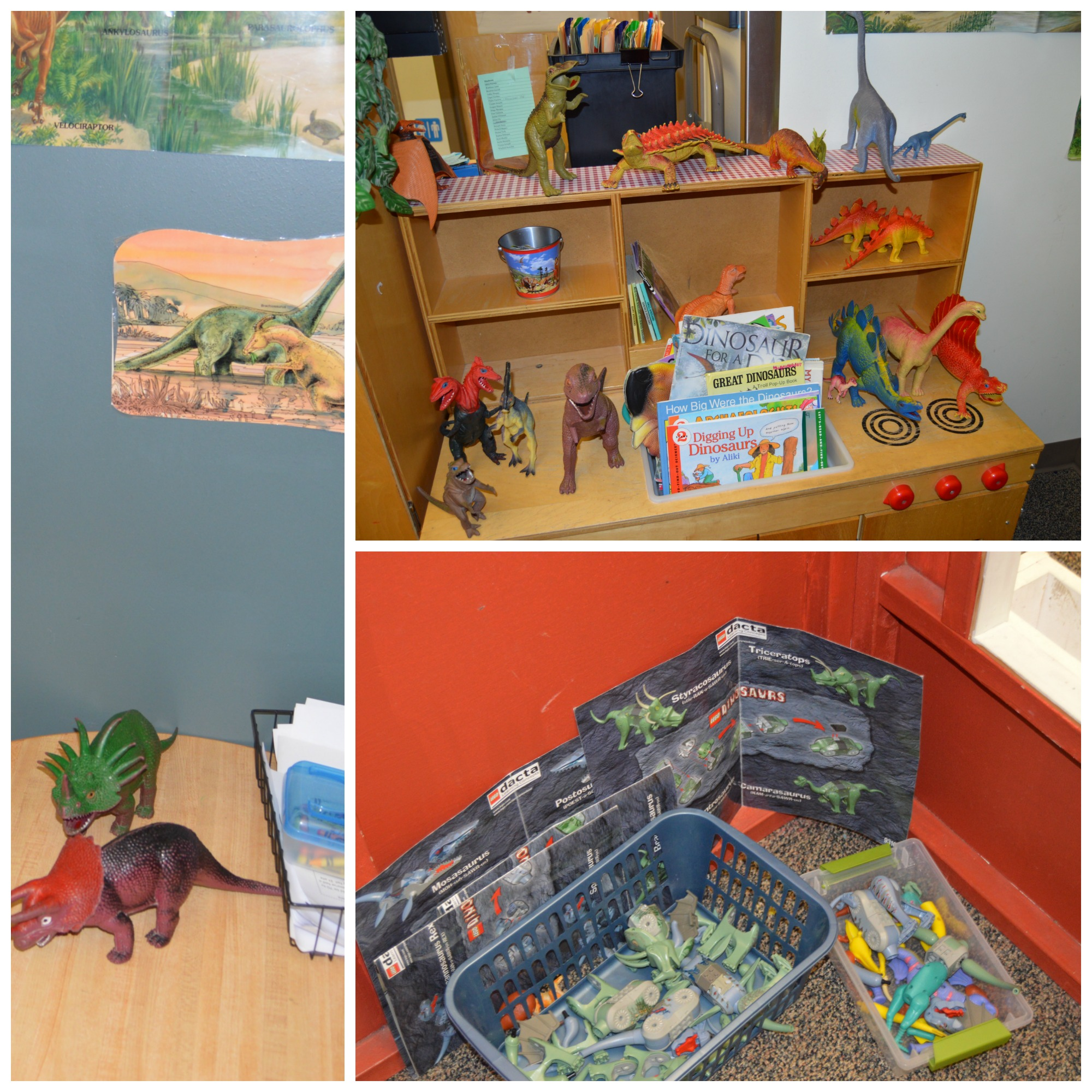 The Inside of the playhouse is ready for dinosaur-themed play and discovery. The conversations are exciting to say the least.