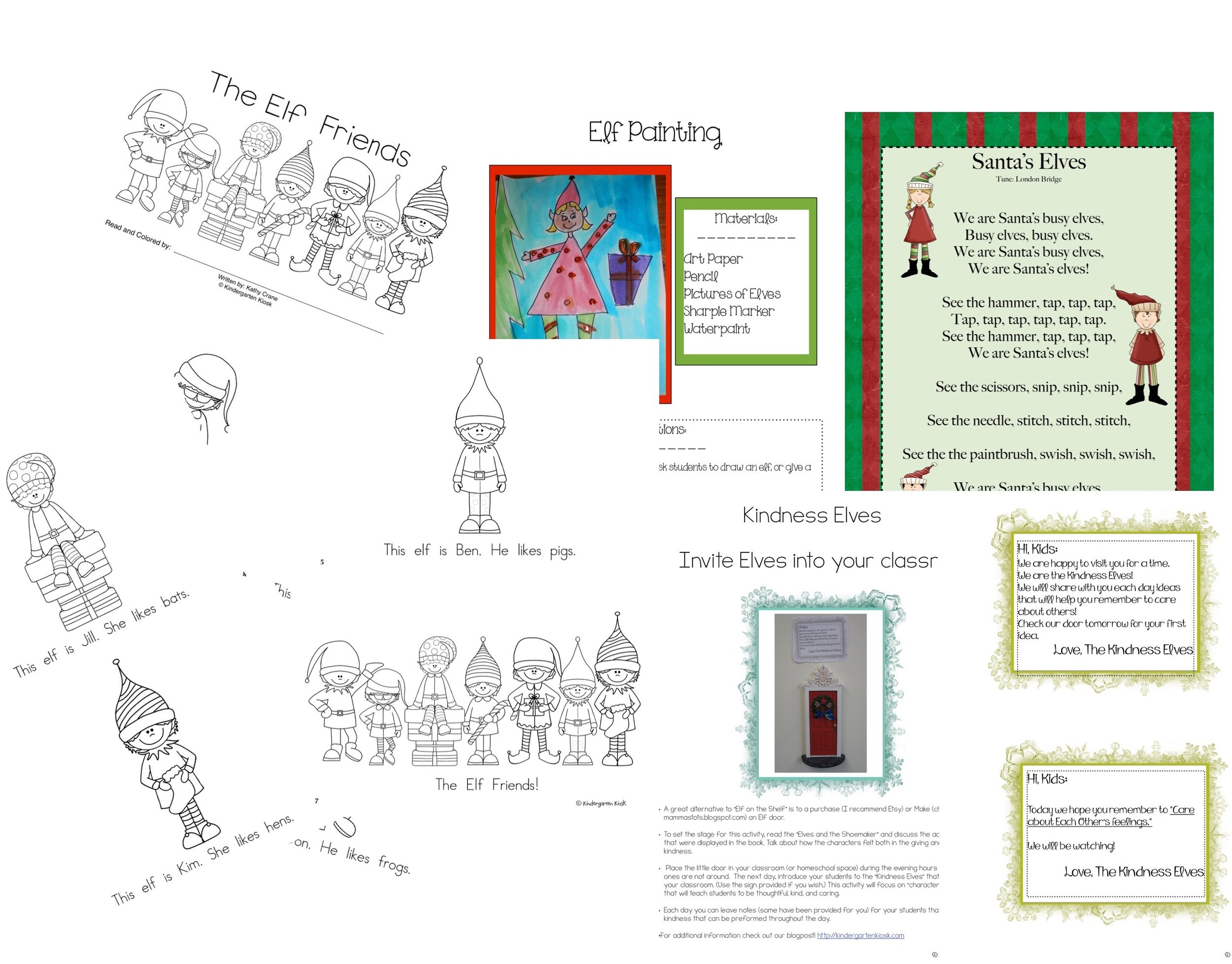 Guided Readers that kids love, easy to make art portfolio sample, songs to sing, and a visit to your classroom from the kindness elves.