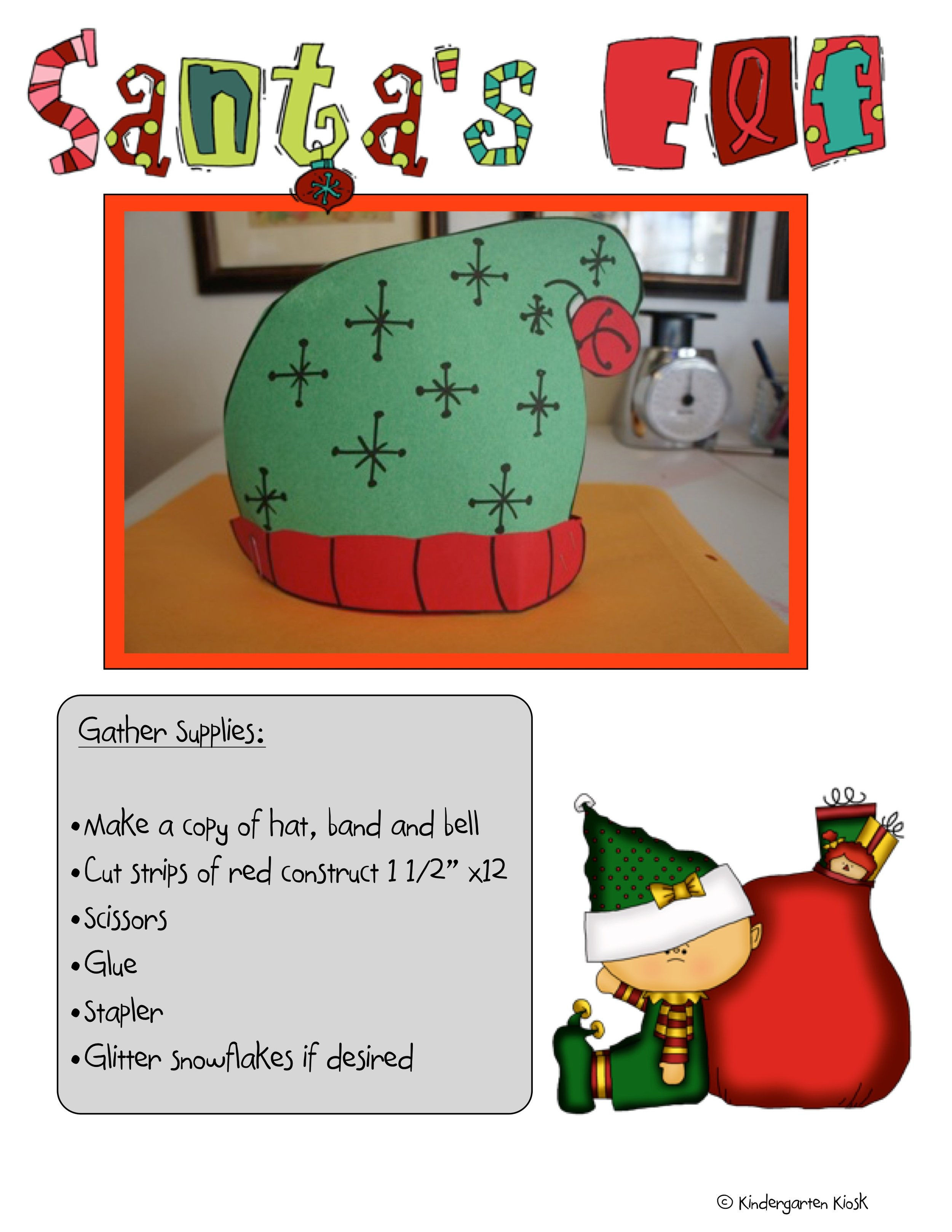 This project is included in our North Pole Theme. Kids love becoming elves. Template and instructions are included.