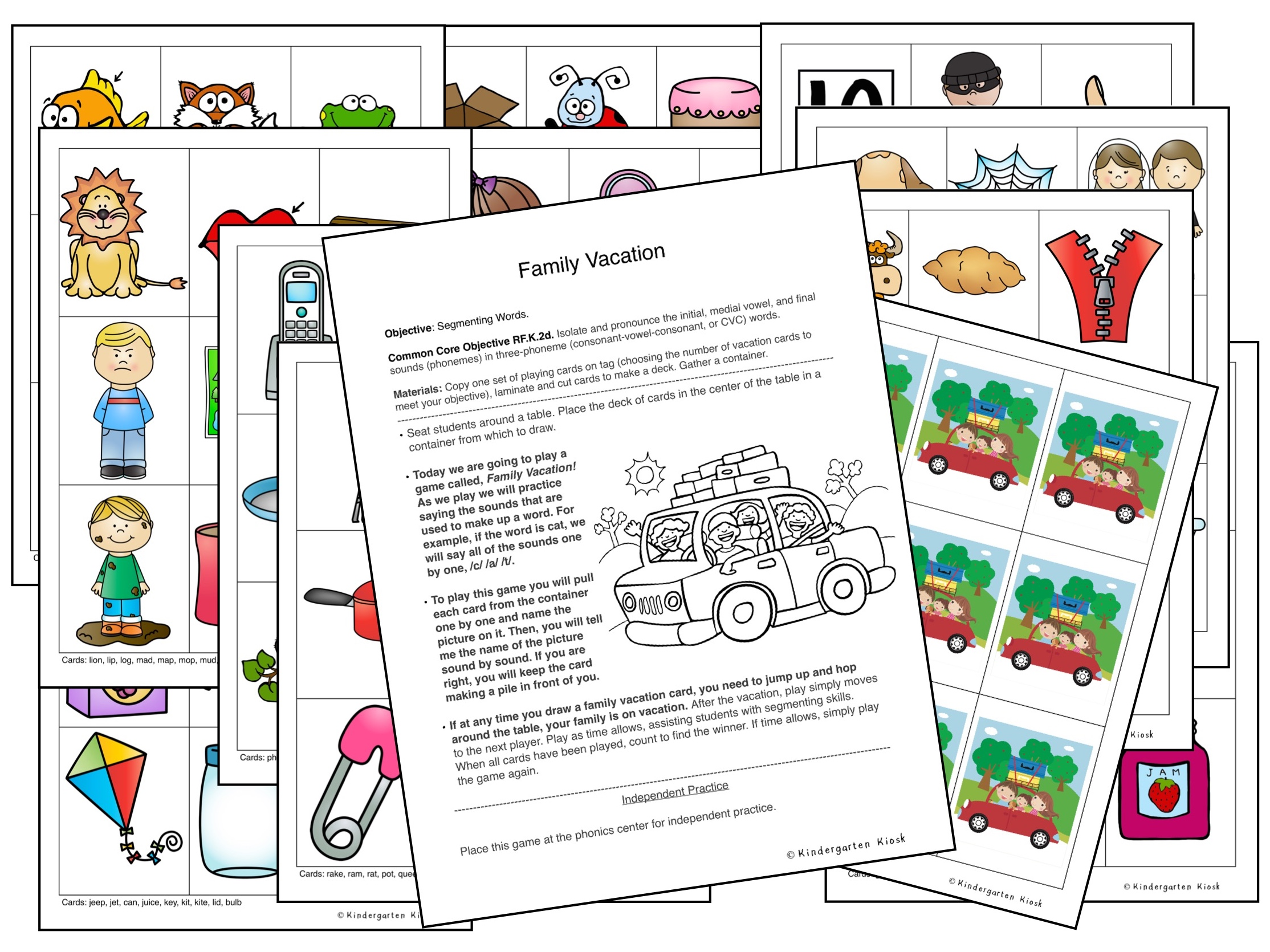 This fun game called Family Vacation offers dozens of picture cards that are ready to teach segmenting to your students. A vacation back is provided to give cards a professional look.