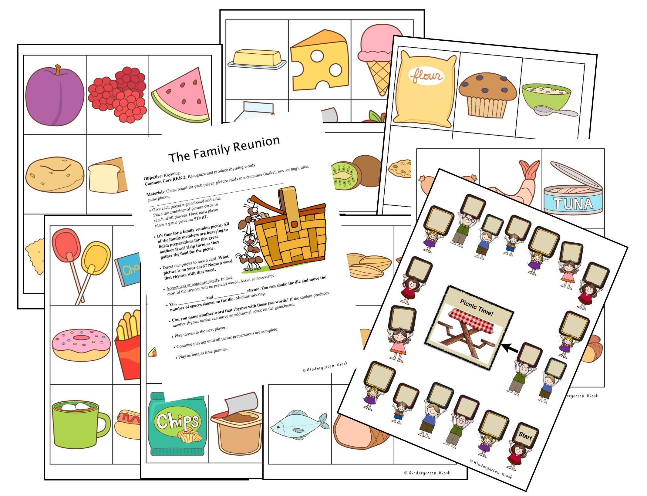 The game Family Reunion allows students to practice rhyming words as they pack the basket for a picnic.