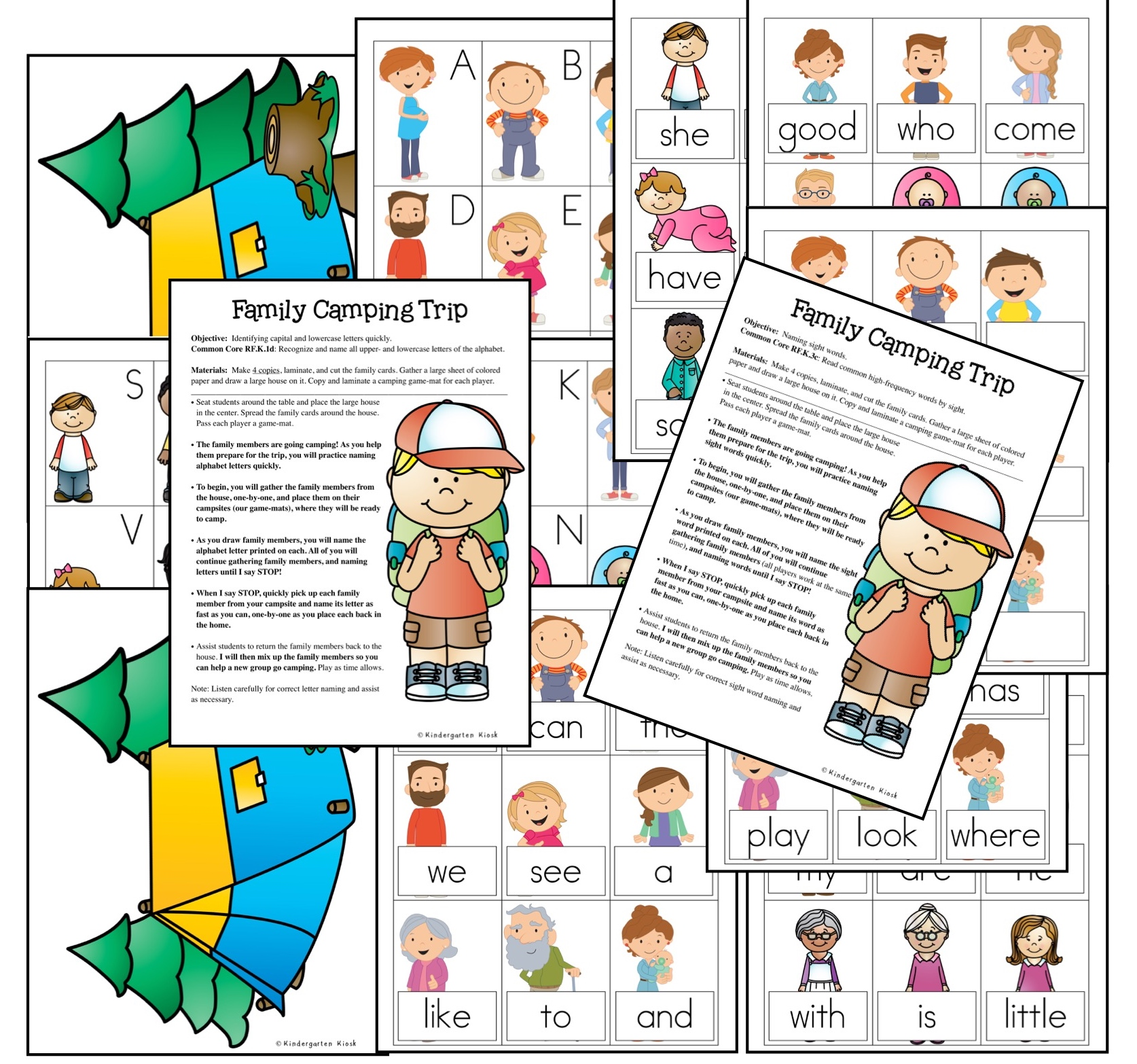 Family Camping Trip is a game that allows students to practice their fluency with letter naming, naming of letter sounds, or naming sight words fluently. Choose the lesson that matches the needs of your students.