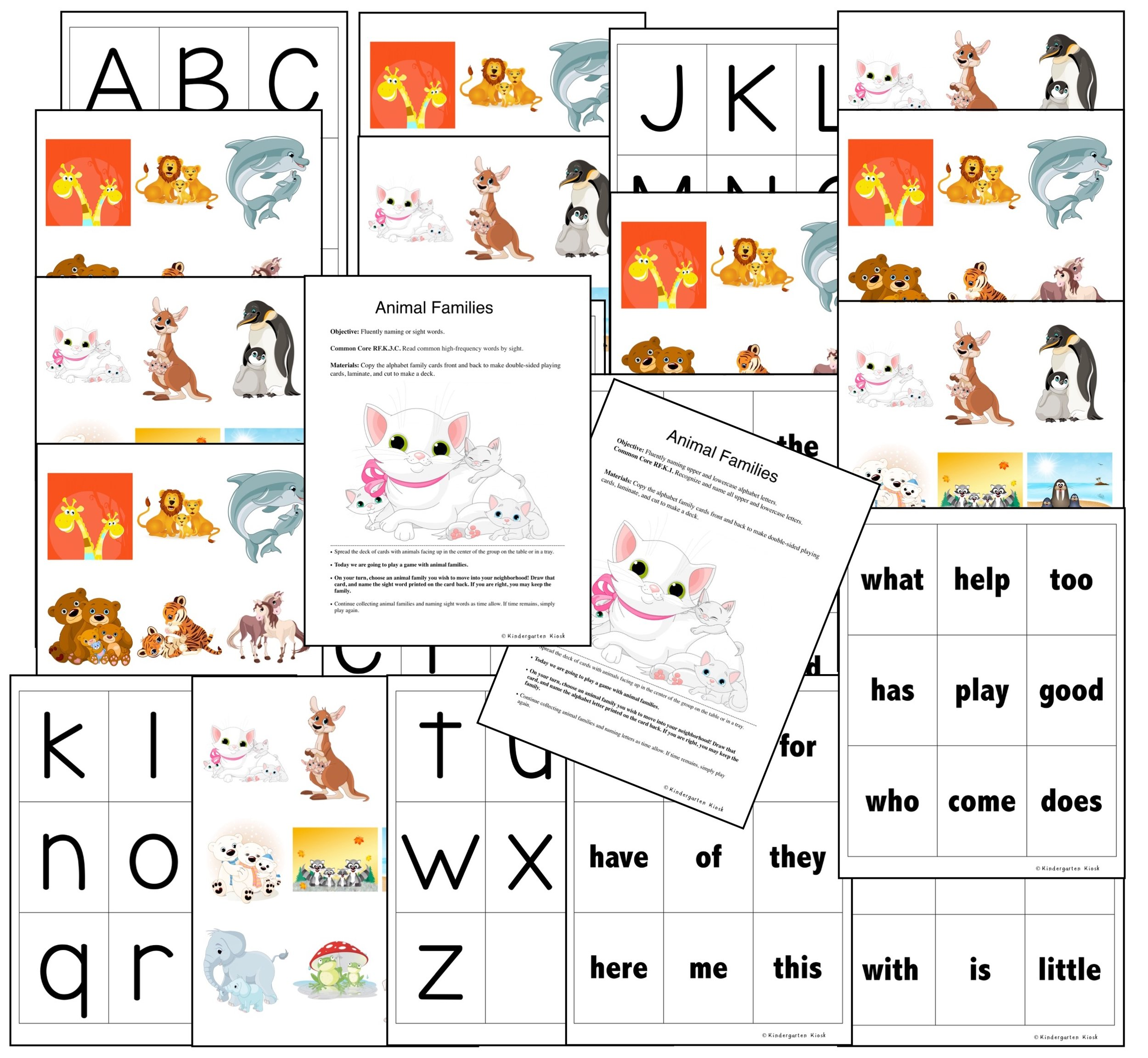 The game Animal Families again deals with the fluency needed to become emergent readers. The games include materials and instruction for letter naming, naming letter sounds, and reading sight words.