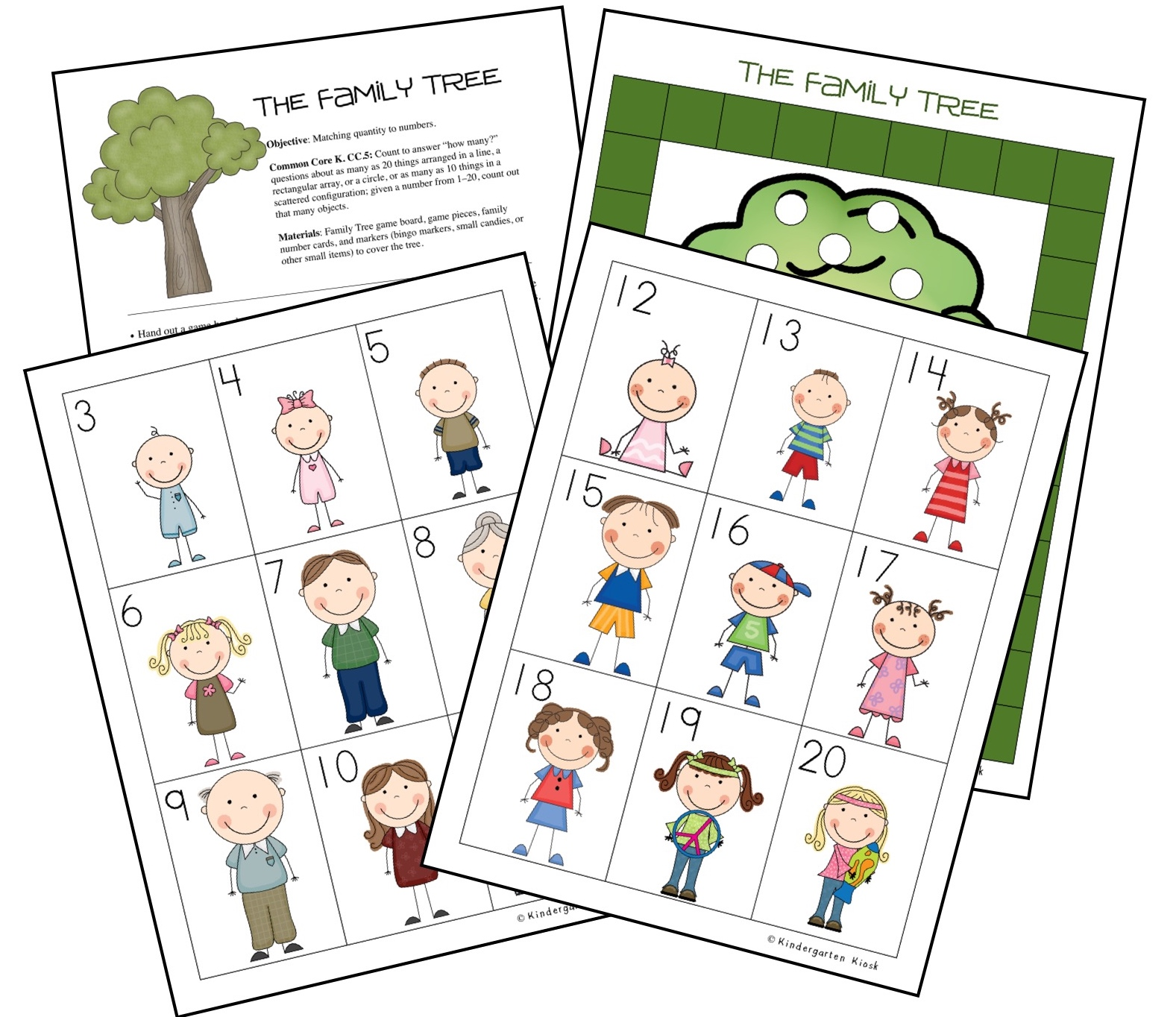 While playing The Family Tree, students are asked to match quantity and numbers up to 20.