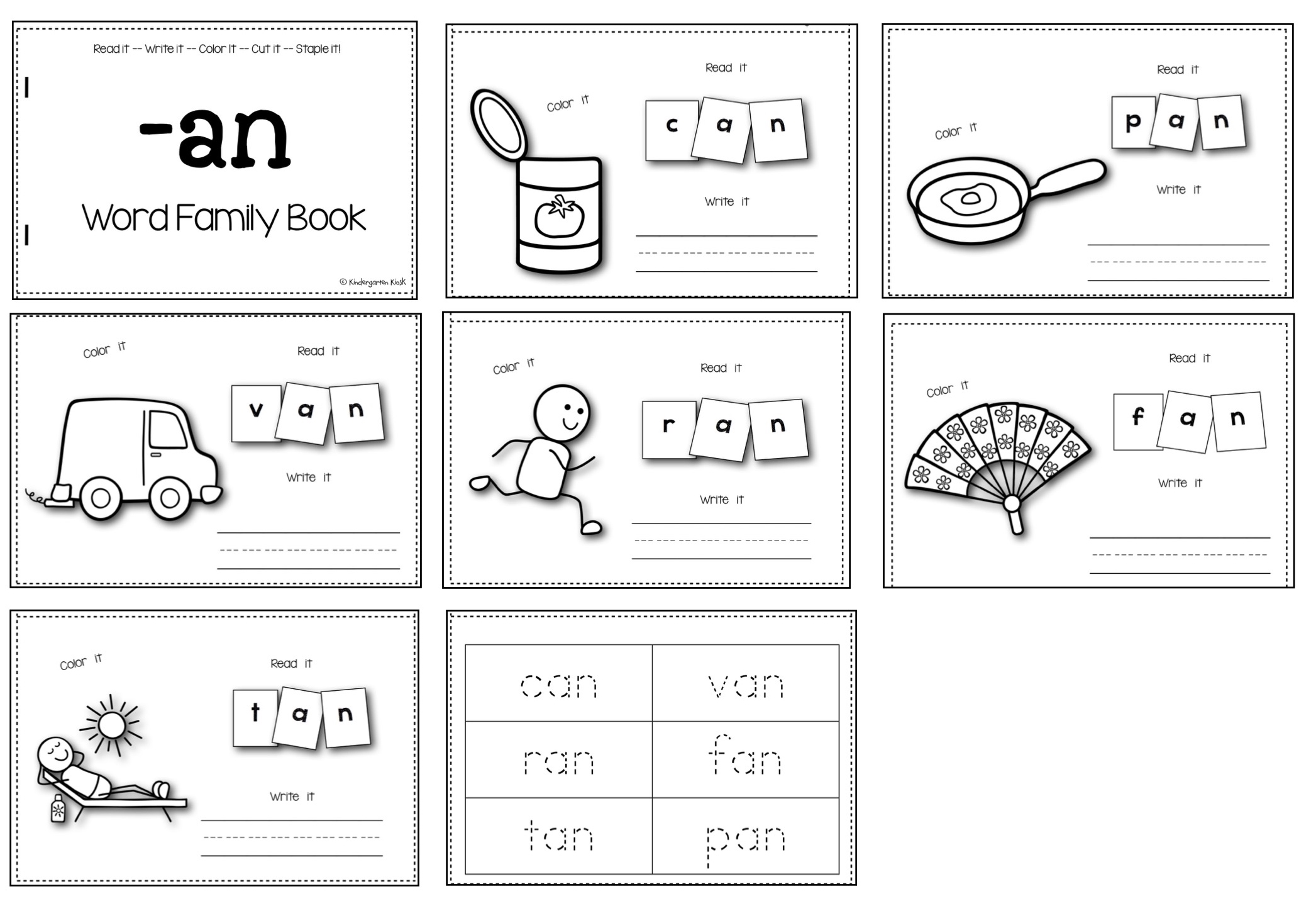 These pages can be stapled together to make a cute interactive little book for kids to read again and again.