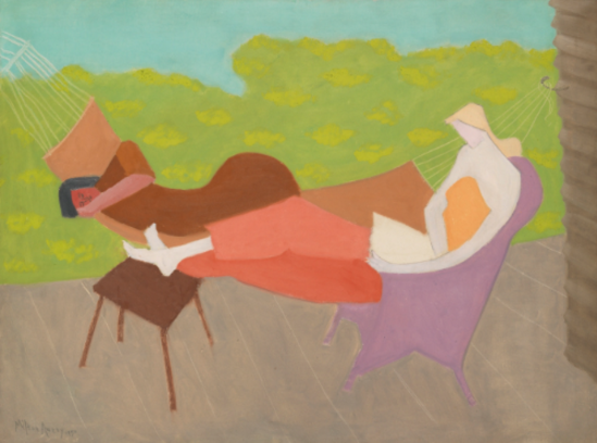 Milton Avery - March And Sally Outdoors