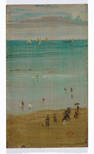 James Whistler    Harmony in blue and pearl: The Sands, Dieppe  c. 1885    oil on panel 9.0 h x 5.5 w inches   Purchased 2017 with the assistance of Allan J Myers AC QC and Maria J Myers AC, Andrew and Tracey Sisson, the American Friends of the NGA with the support of the Dr Lee MacCormick Edwards Charitable Foundation and the Neilson Foundation.