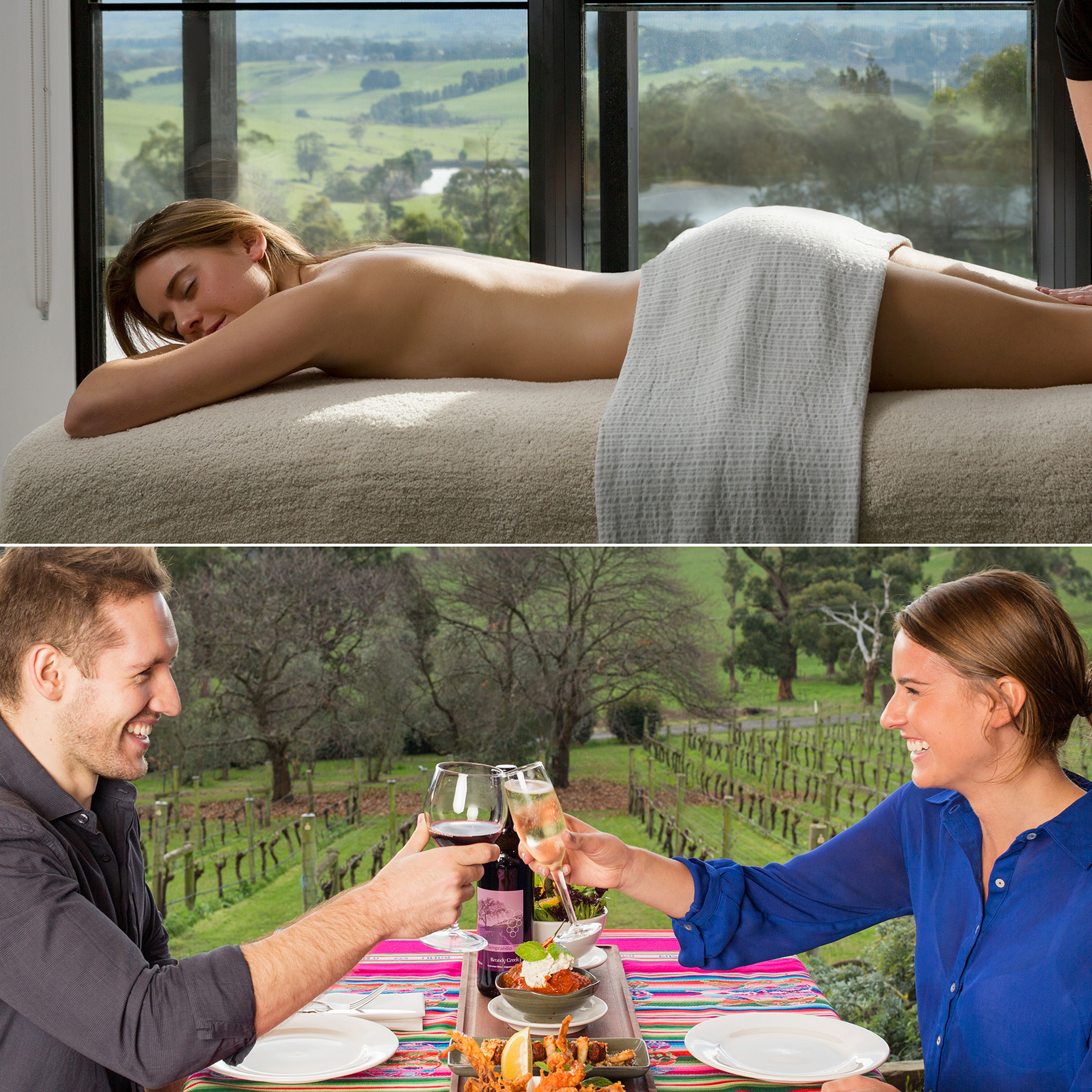 Ultimate Escape Package - $185 per person or $350 per couple | Hammam | choice of 1 hour facial or massage |tapas 3 course lunchEscape to the country with Brandy Creek Estate's Ultimate Escape Package. Begin in our Spa Hammam steam room and then indulge in a 1 hour facial or massage. Once you're relaxed, head to the restaurant to enjoy a delicious tapas 3 course meal to complete your day!Bookings are available Thursday to Sunday.