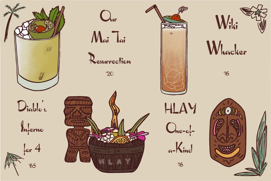 Image is an illustration depicting Here's Looking at You's tiki cocktails; the Diablo's Inferno for 4–$65, Our Man Tai Resurrection—$20, HLAY One-of-a-Kind—$16, and Wiki Whacker—$16.