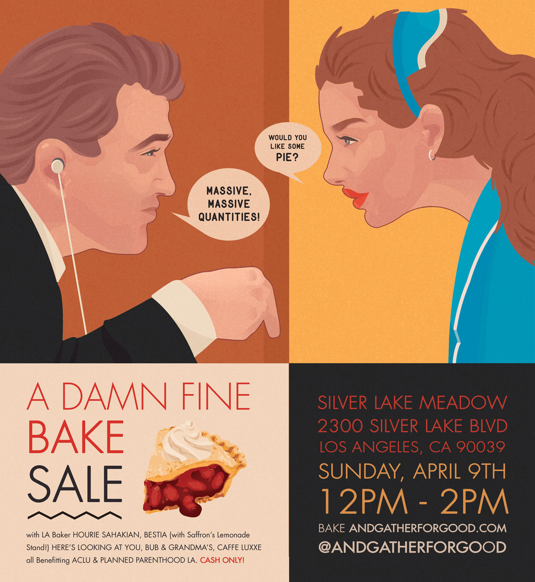 """Image is an illustration depicting """"A Damn Fine Bake Sale"""", a fundraiser and an example of the past work with nonprofits that Here's Looking at You has participated in."""