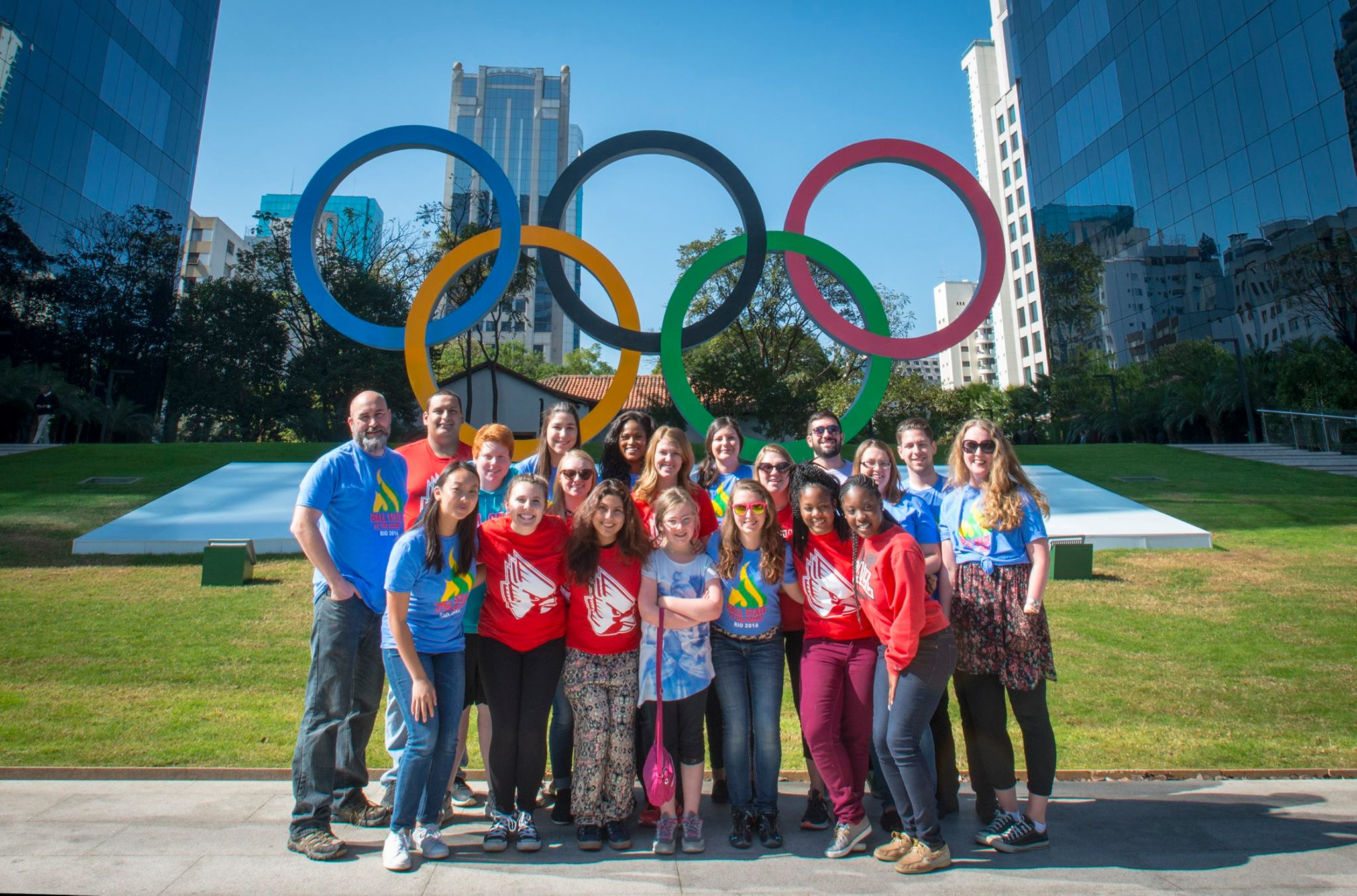 The BSU at the Games crew in front of the Olympic Rings at the Google Headquarters in São Paulo.
