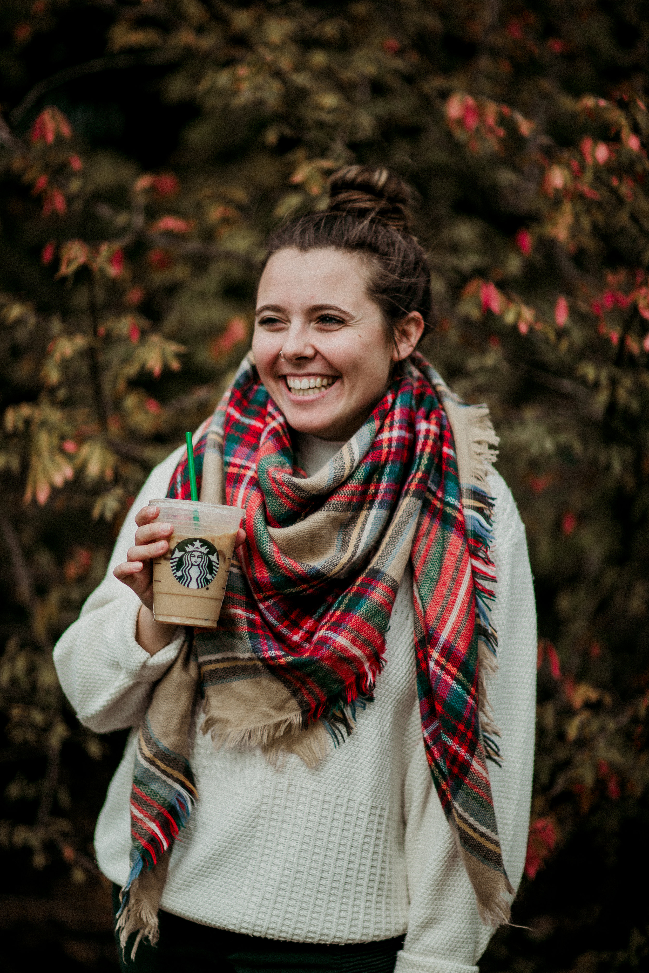 """Of course, to start off the month I wanted to do a cute fall pic to post to   Instagram  . I don't like pumpkin spice lattes (shocker since this image screams """"basic"""") but still included Starbucks in hopes of getting sponsored. I dream big."""
