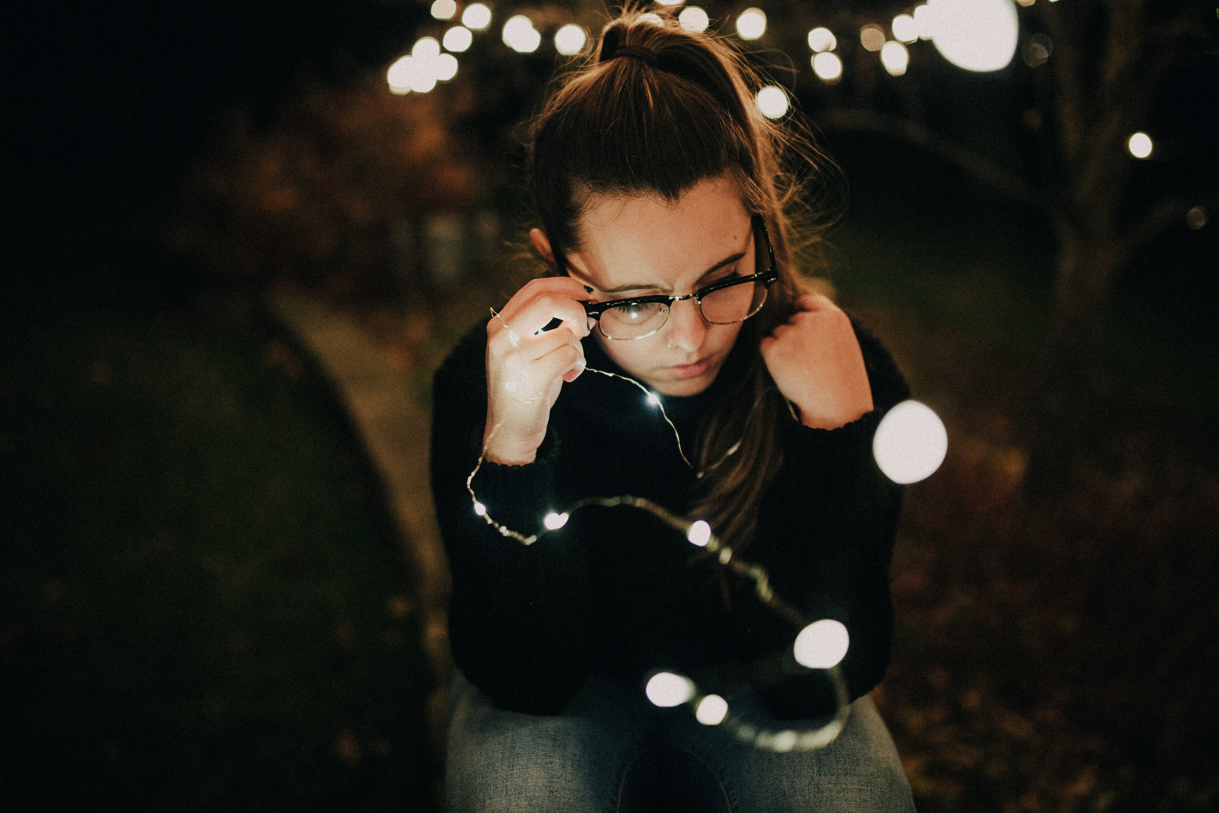 I love the Christmas lights that get strung up this time of the year and I actually went and got some photos with them.