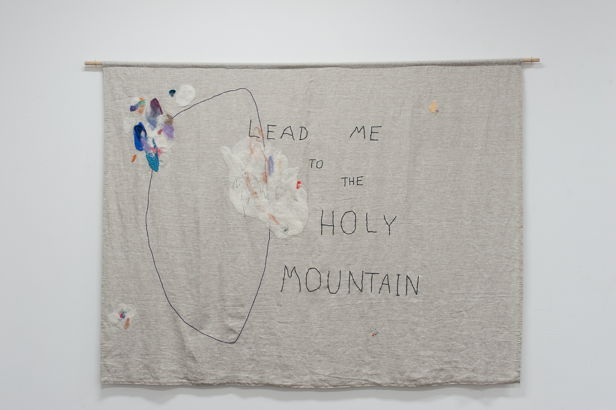 Lead Me to the Holy Mountain , 2016. Embroidered and needle-felted wool on linen.