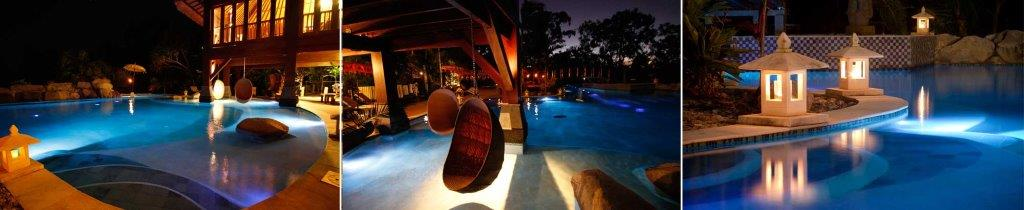 [The pool by night].