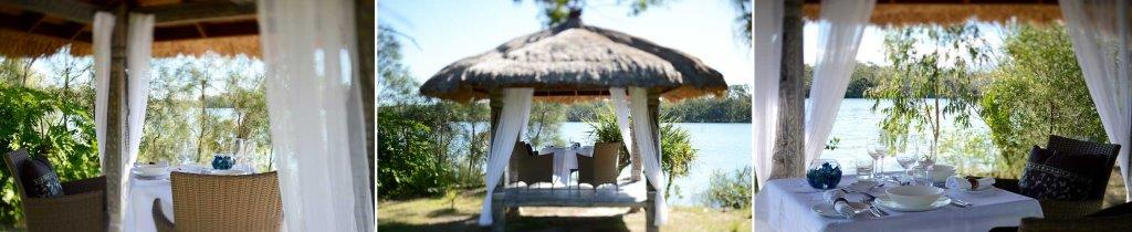 [Pavilions beside the river, sourced in Bali, but their origins are from a village in East Timor].