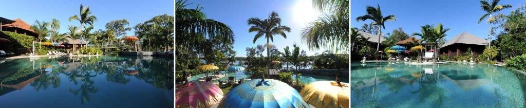 [The Pool area which over looks the Noosa River].