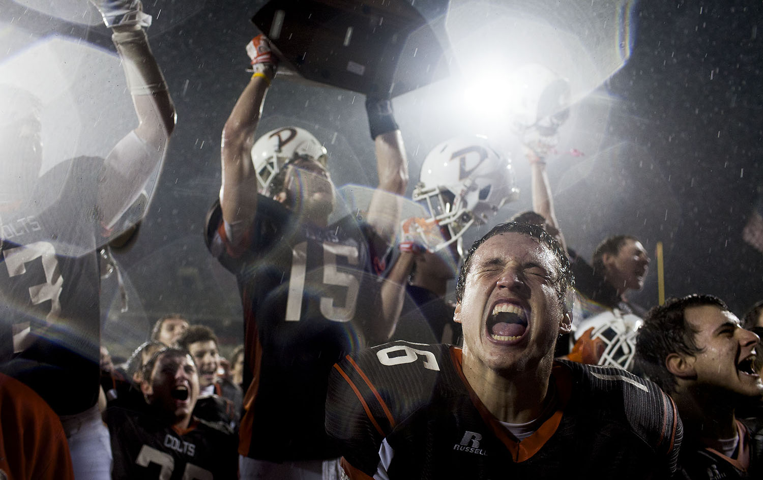 Desales quarterback Austin Johnson cheers with his teammates after Desales' 26-0 victory over Newport Central Catholic on Friday, Dec. 5, 2014, in the Class 2A State Championship at L.T. Smith Stadium in Bowling Green, Ky.
