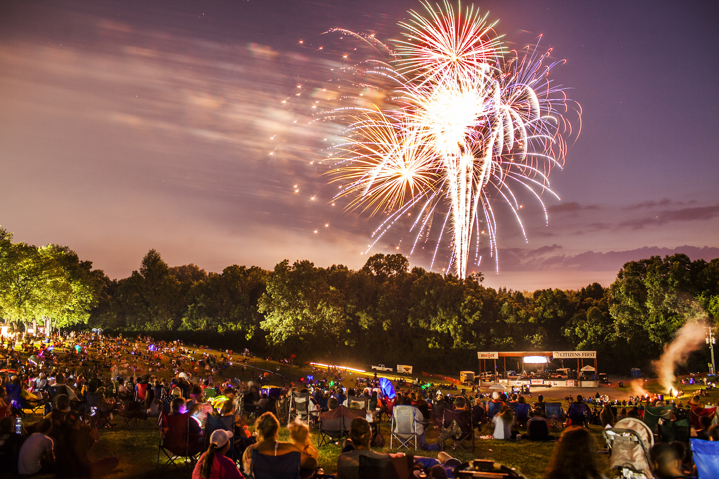 People watch fireworks go off during Thunderfest 2016 on Friday, July 1, 2016, at the National Corvette Museum.
