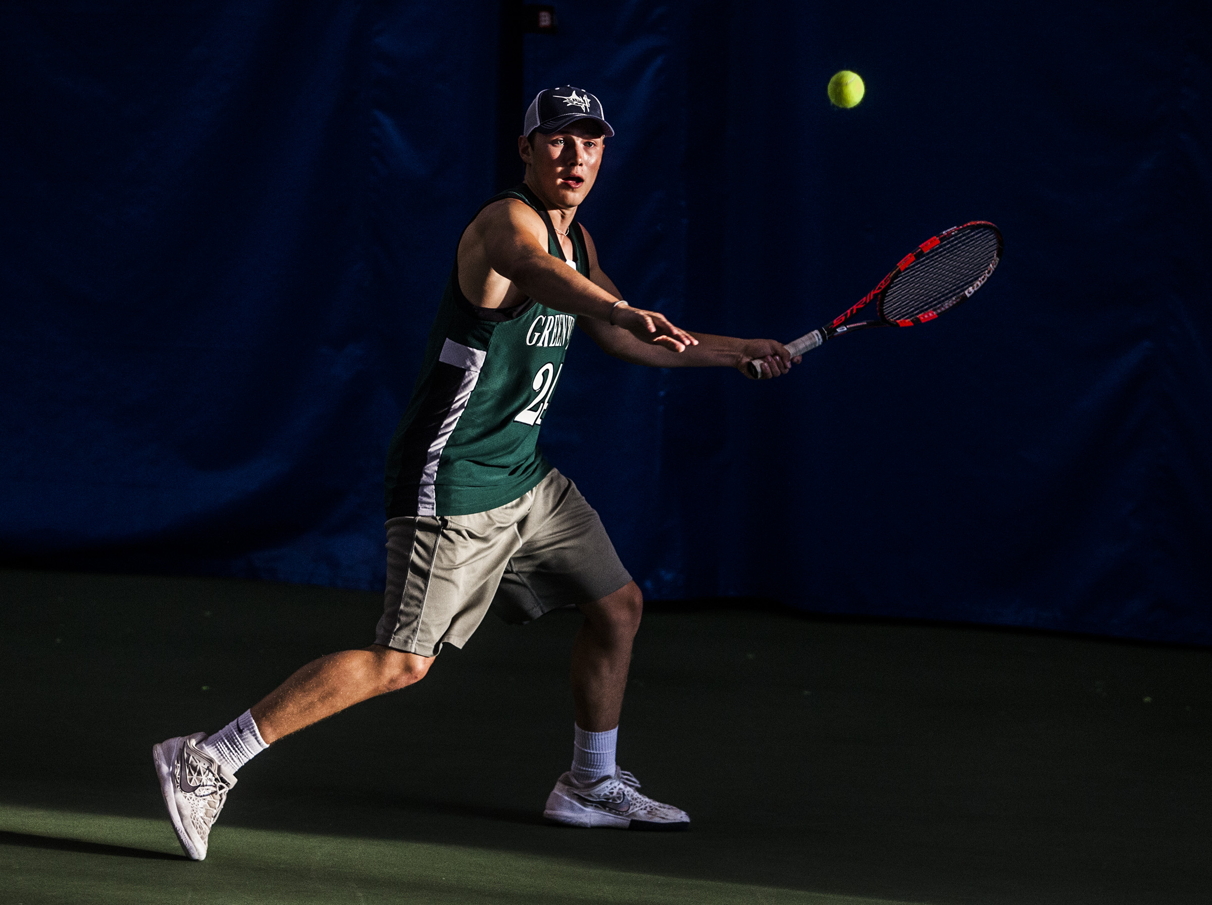 Greenwood's Chris Argo returns a volley during their win over Clinton County in the Region 4 tournament on Tuesday, May 10, 2016, at Tennis Performance Institute in Bowling Green.