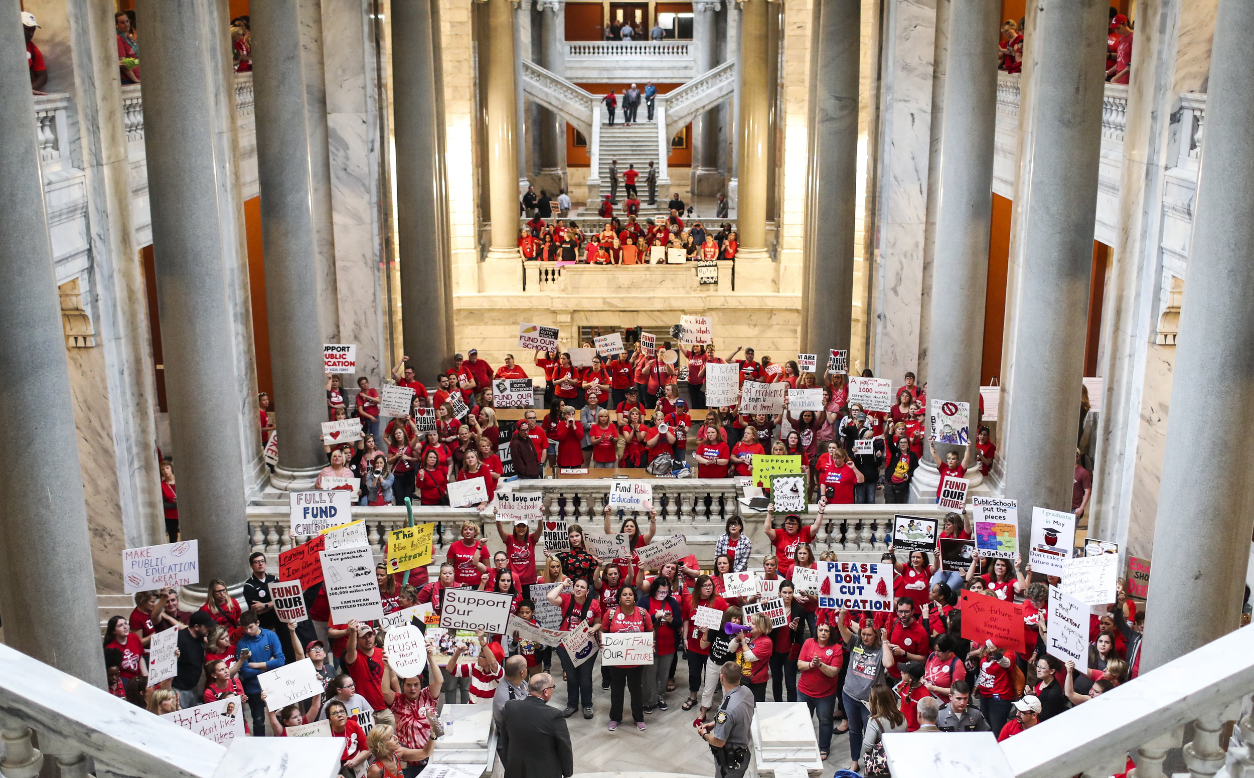 Teachers fill the Capitol to protest for education funding on Friday, April 13, 2018, at the Kentucky State Capitol.