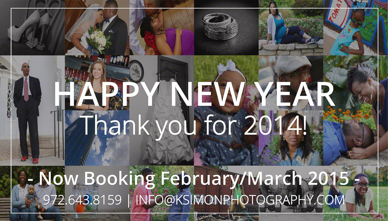 Happy New Year everyone! Many thanks for making 2014 such a special year. So many wonderful new relationships and fond memories to cherish for a lifetime! I'm looking forward to working with you all in 2015!   Oh, and don't forget that sessions are now being booked for February and March 2015! 😉    Ready to book your session?   EMAIL ME  to secure your date!   Wishing you and yours many blessings for a wonderful 2015,   Kimberly  📷  Atlanta + Dallas Fashion, Lifestyle, & Business Portrait Studio and Outdoor Photographer