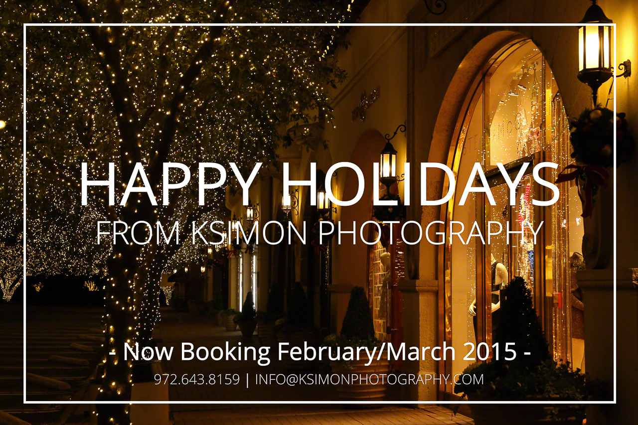 Hi loves!   Happy Holidays to you and yours from KSimon Photography! The opportunity to serve you is such a joy. Thank you so much for your business, feedback, support, and referrals this year.   To have family, friends, and clients like you has been such a blessing that keeps me pushing forward with my photography business. I am continuing to learn and grow everyday, and I would not be able to endure and enjoy this journey called life without you all. I love you guys!   I am super excited about what the new year has in store, so stay close! Sessions are now being booking for February/March 2015!     Ready to book your session?   EMAIL ME  to secure your date before availability is gone!   Stay blessed and have a wonderful Christmas and New Year,   Kimberly  📷  Atlanta + Dallas Fashion, Lifestyle, & Business Portrait Studio and Outdoor Photographer      [Photography: KSimon Photography]