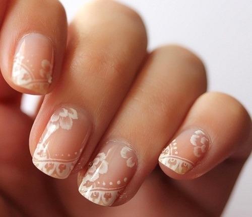 Nice idea for brides!     30 Astonishingly Pretty Lace Nail Art Designs | Feminiya on  We Heart It .