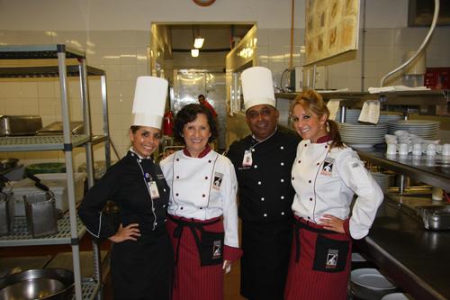 Chefs: Cassandra, Felipe, Amelia & me in Tramonto's kitchen