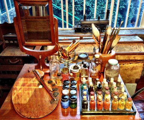 Frida's art studio desk and personal portrait mirror