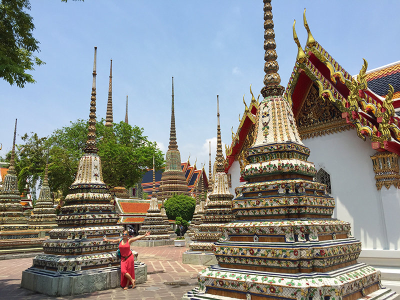 The Chedis at the Wat Pho. Colorful, graceful and embellished in ceramic tile