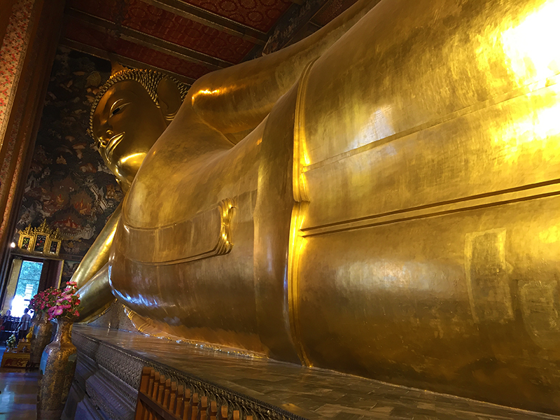 Temple of the Reclining Buddha. An imposing reminder of the Buddha's passing into nirvana (the Buddha's death)