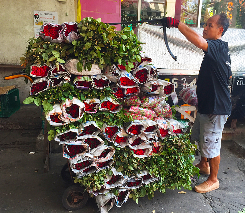 Locals selling flowers 24 hours a day
