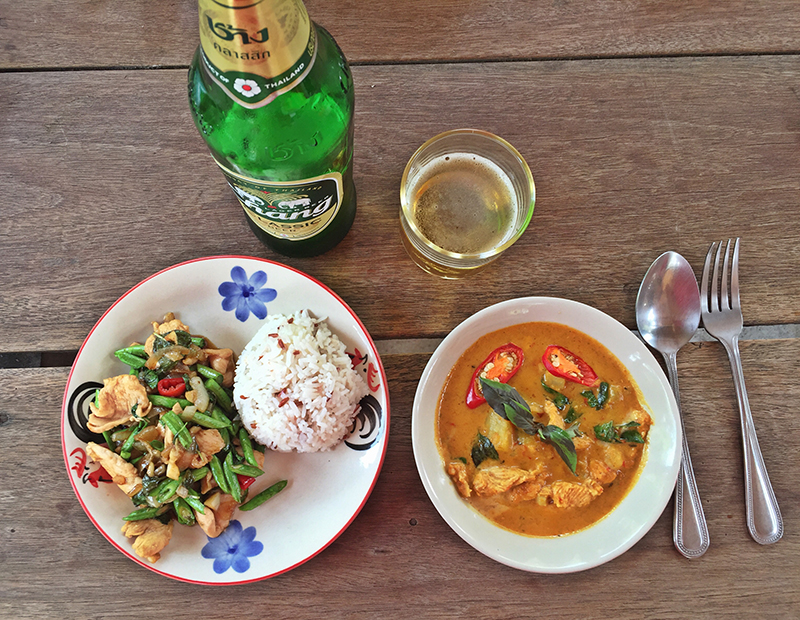 Yellow Curry with Chicken + Sweet Basil Thai Chicken + Chang Beer. Yes, please!