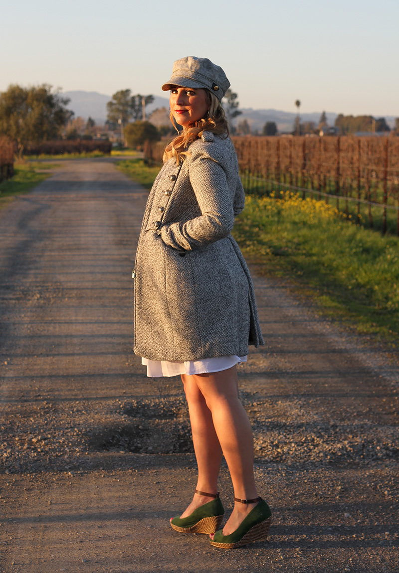 Zara Coat + Wedges, BCBG dress, J. Crew Hat